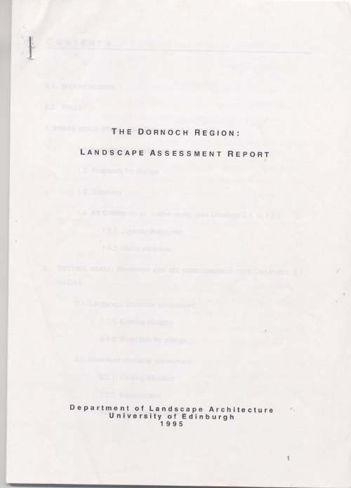 Dornoch Region Landscape Assessment Report 1995