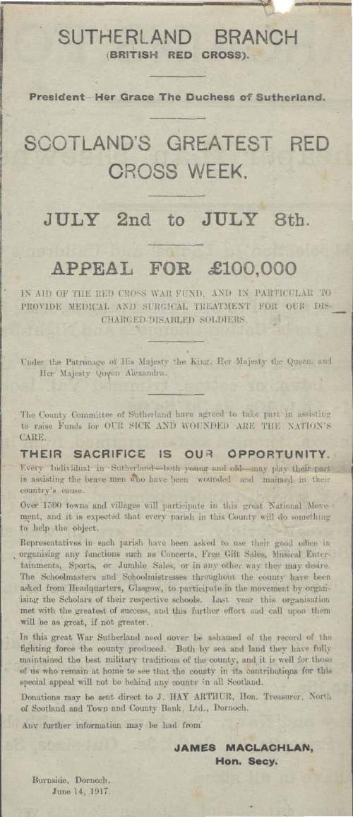 Sutherland Branch British Red Cross Society ~ Appeal