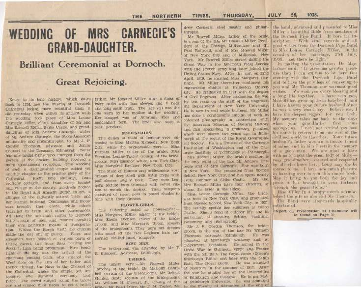 Wedding of Mrs Carnegie's Grand-Daughter