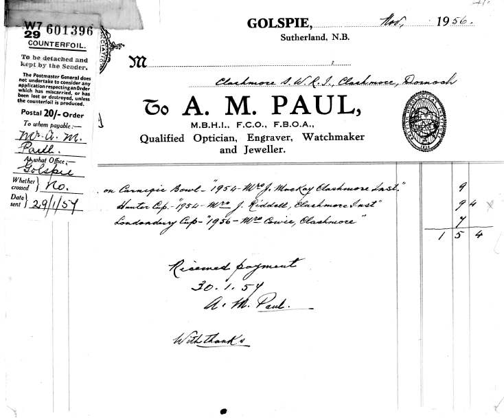 Receipt from A.M. Paul