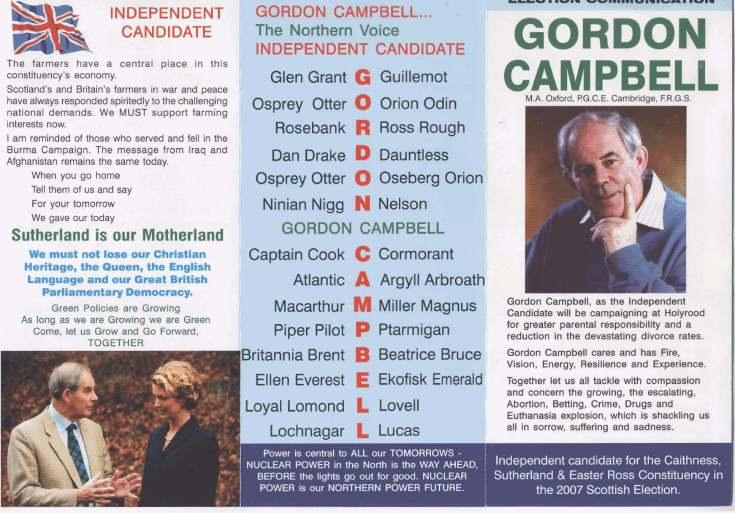 Gordon Campbell Election leaflet