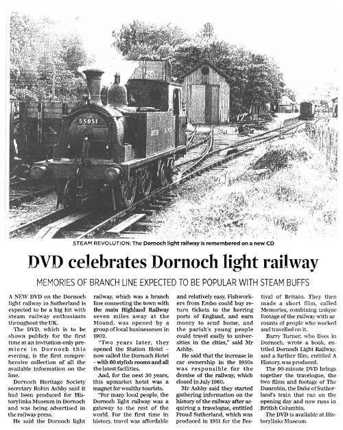 Newspaper cutting ~ Premiere of Dornoch Light Railway film