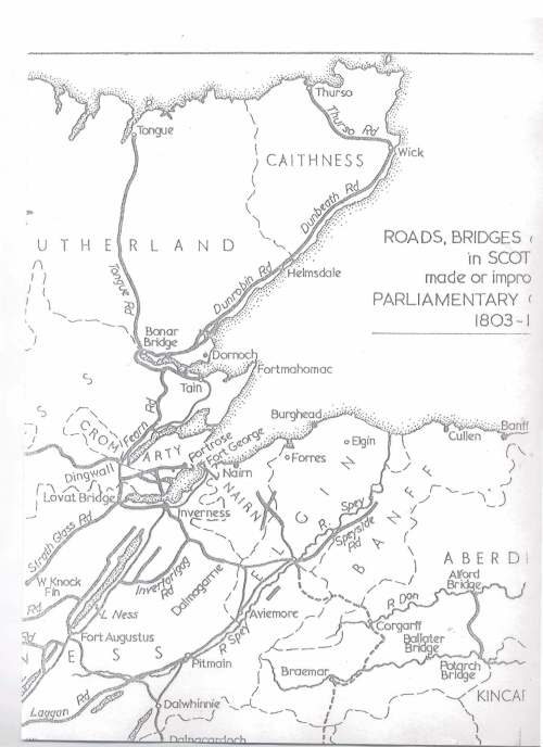 Map of Roads and Bridges c.1803 in N.E. Scotland