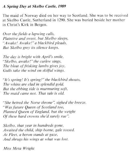 Poem 'A Spring Day at Skelbo Castle, 1989'