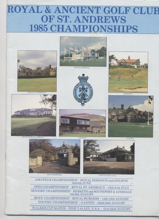 Guide to the 1985 St Andrews Championships