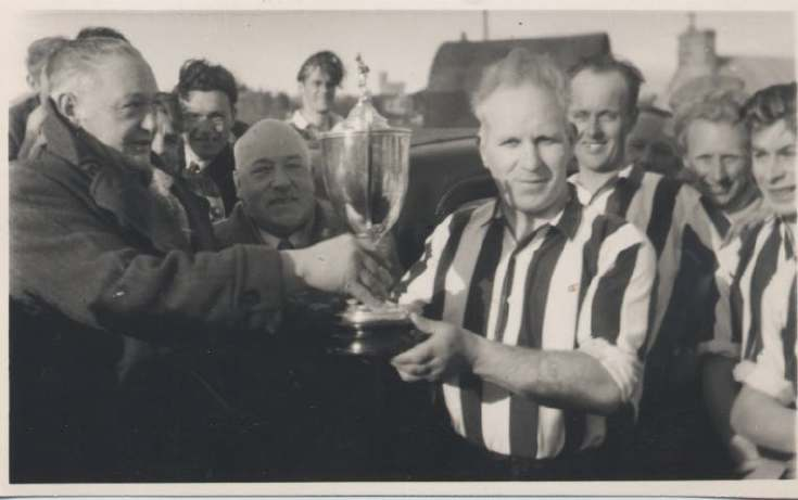 Presentation of the Stafford Cup to Dornoch Football Team