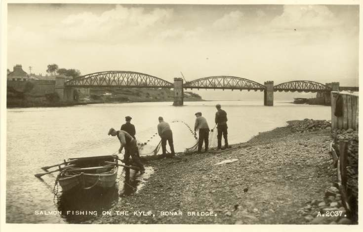 Furness Postcard Collection -   Bonar Bridge Salmon Fishing