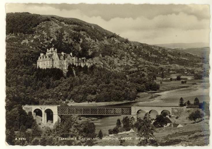 Furness Postcard Collection -  Carbisdale Castle and railway bridge