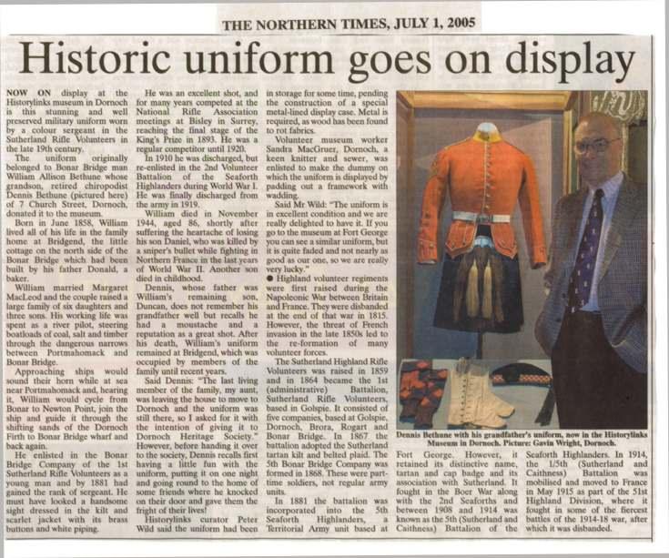 Newspaper cutting Historic Uniform