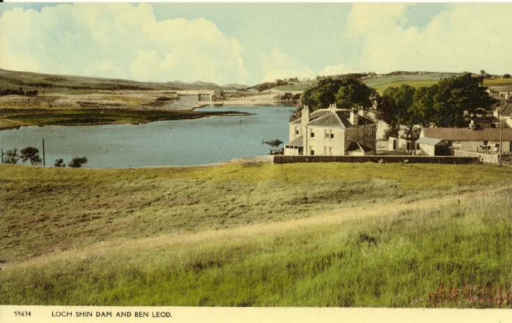 Furness Postcard Collection -  Loch Shin Dam and Ben Leod