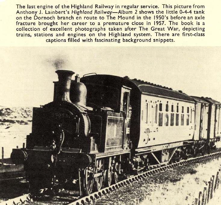 Magazine photograph of the last engine on the Dornoch railway