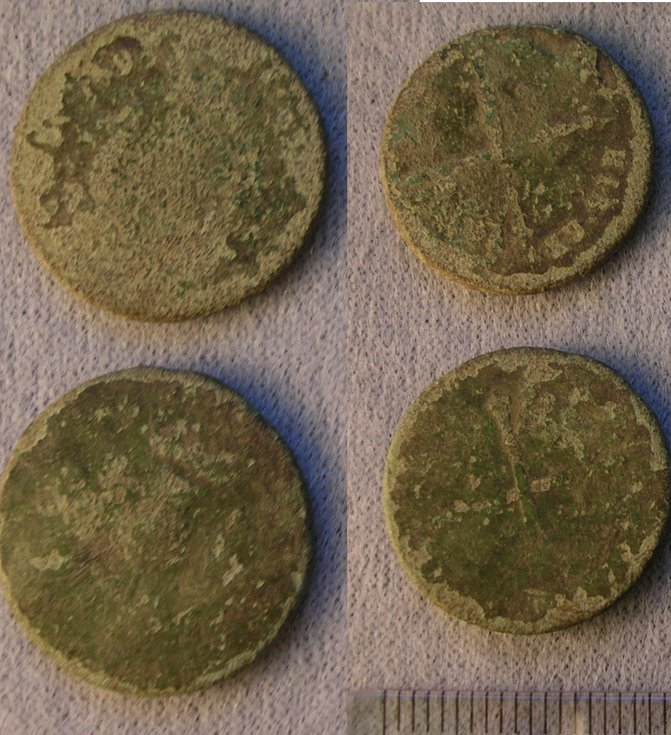 Coins from the fields at the rear of the Burghfield Hotel