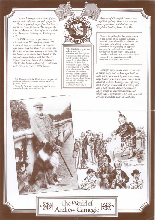 Illustration from a set of 21 posters of the life of Andrew Carnegie