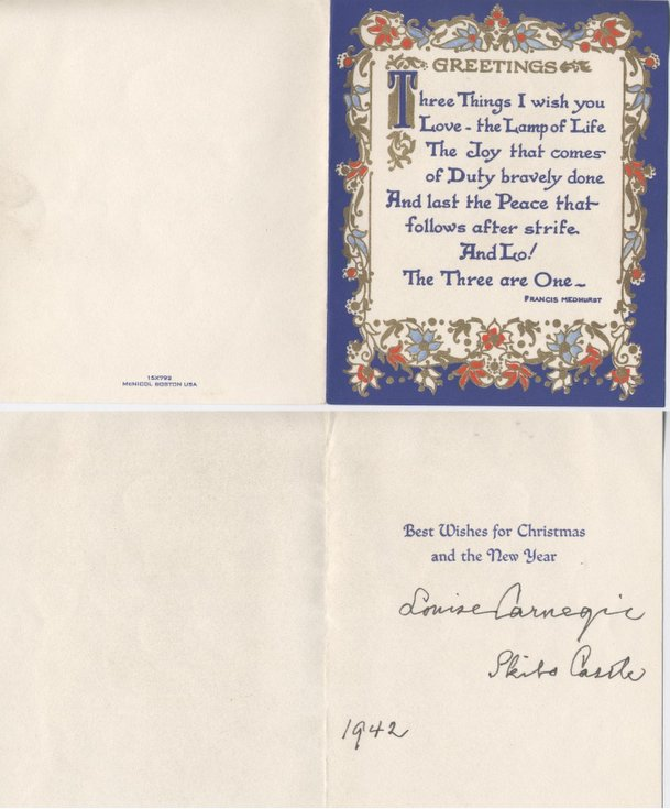Carnegie Christmas and New Year Greetings Card 1942