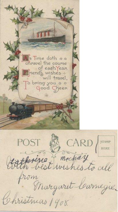 Christmas Greetings Postcard 1908