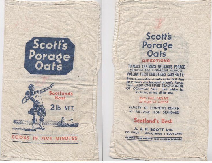 Scott's Porage Oats ~ World War Two packaging