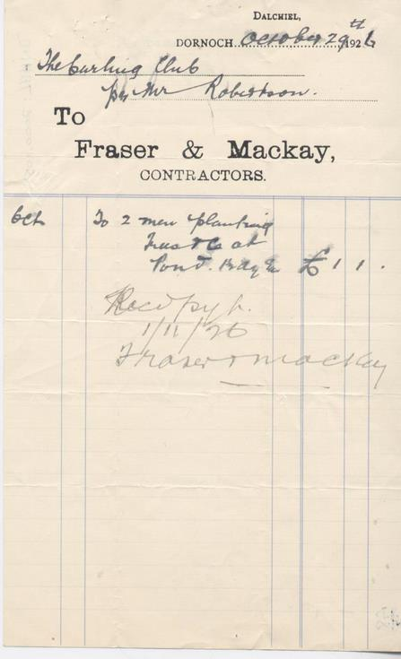Invoice from Fraser & Mackay for planting of trees 1926