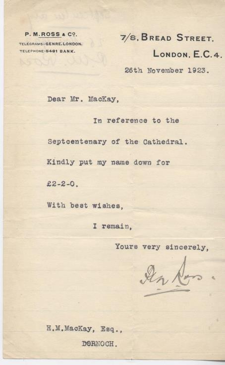 Letter re donation for cathedral septcentenary celebrations