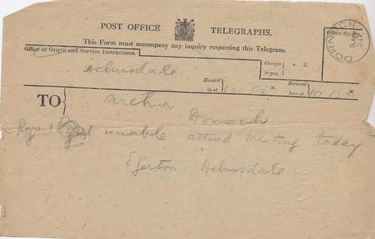 Telegram re meeting about cathedral septcentenary celebrations