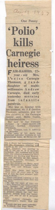 Death of Louise Carnegie Thomson