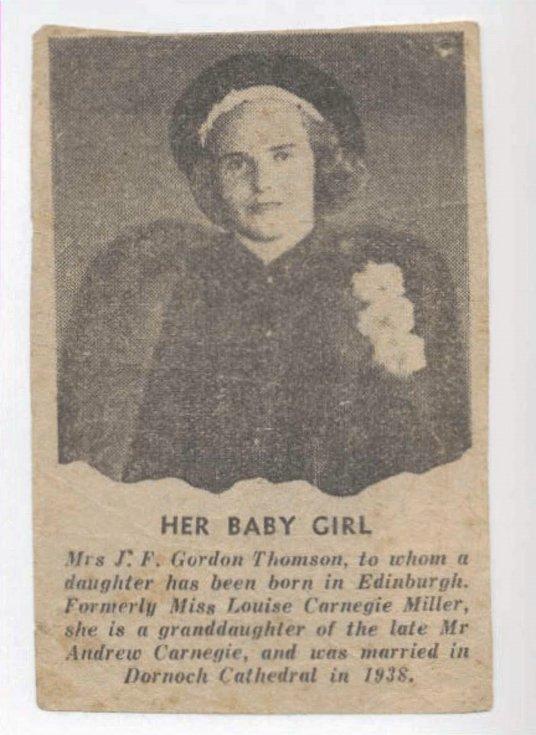 Mrs. J. F. Gordon Thomson, grand-daughter of Andrew Carnegie