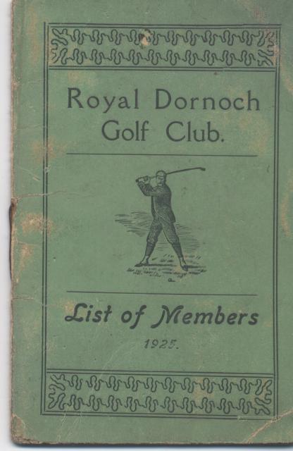 Dornoch Golf Club List of Members 1925