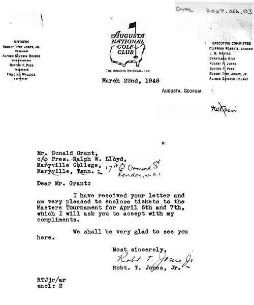 letter from Robert Jones, Jr to Donald Grant