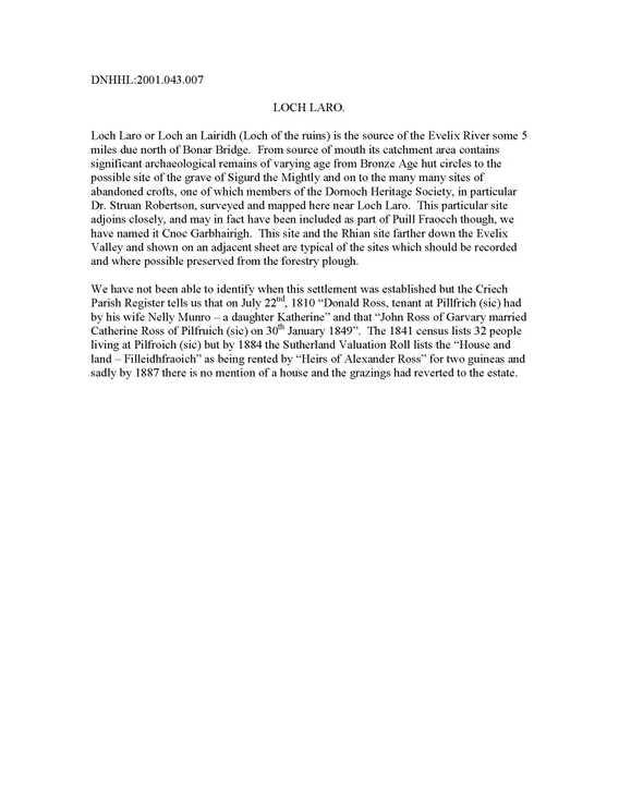 Strath Laro settlements