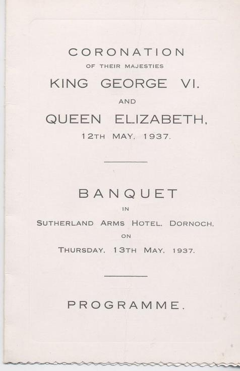 Menu and toast list for coronation banquet 1937