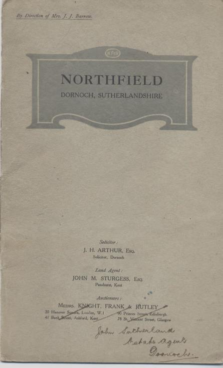 Sales prospectus for Northfield, Dornoch (Burghfield Hotel)