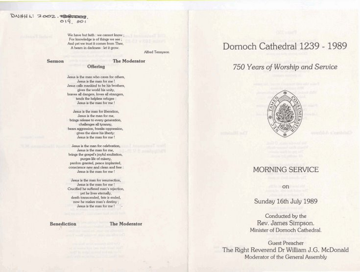 Order of Service 1989