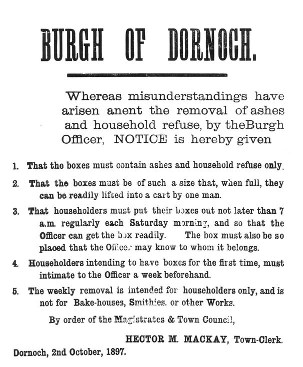 Poster about rubbish collection 1897