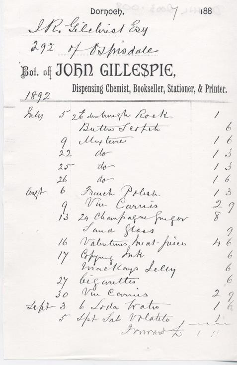 Invoice from JOhn Gillespie Chemist to J R Gilchrist