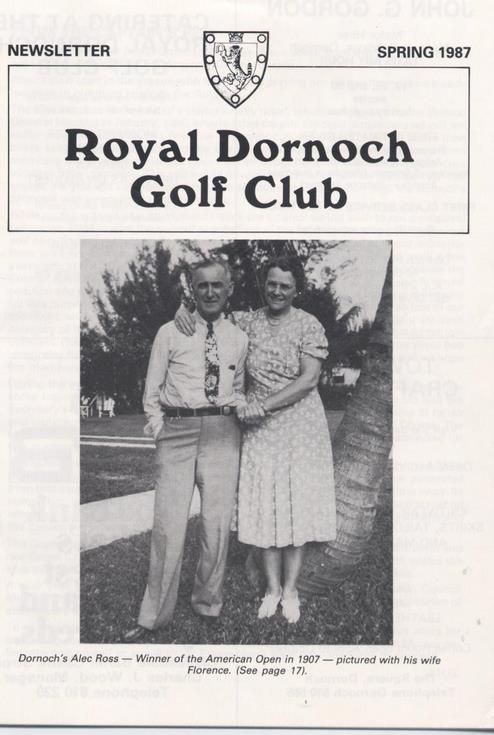 Royal Dornoch Golf club Newsletter Spring 1987