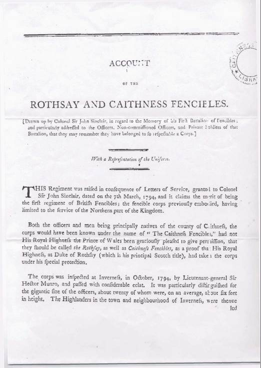 Account of the Rothsay and Caithness Fencibles