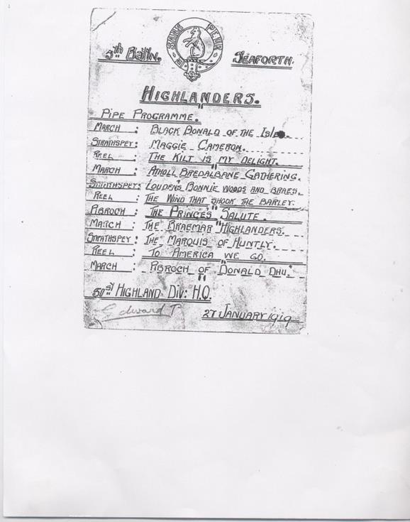 Seaforth Highlanders Pipe Music Programme 1919