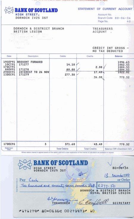 Bank statements and cheques, British Legion Dornoch branch