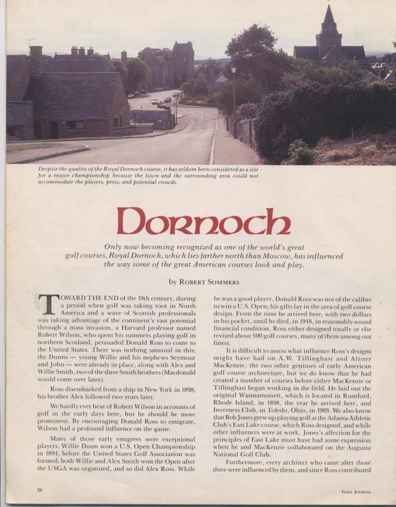 Golf Journal 1984 - article Dornoch Course