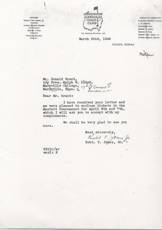 Letter to Donald Grant with tickets for Masters Tournament