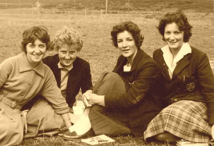 Dornoch Academy Four 6th year girl pupils 1959