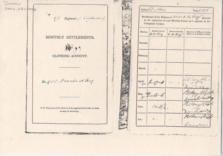 Account Book of Private Donald Mackay 1835-41