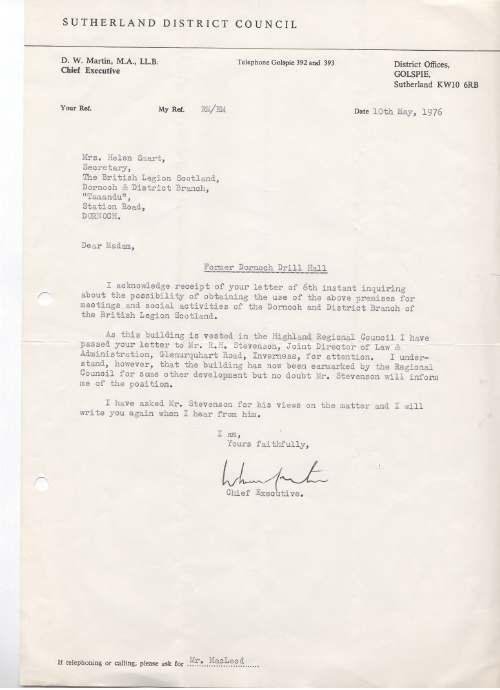 British Legion Correspondence - Amenities Committee