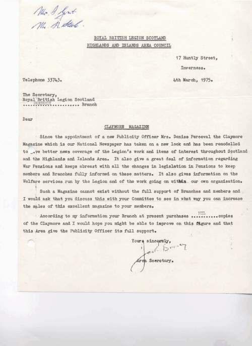 British Legion Correspondence - The Claymore Magazine