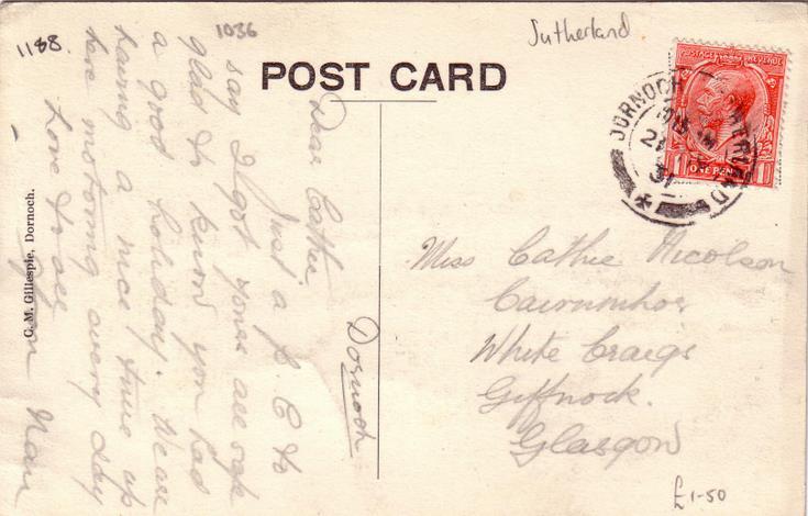 Dornoch War Memorial postcard - reverse with George V stamp