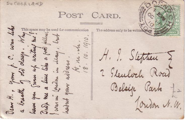 Reverse of a Dornoch house with tennis court postcard