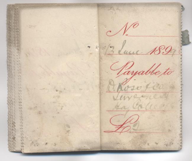 1899 cheque stubs found above McPerson's shop Dornoch