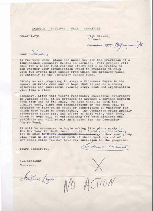 British Legion Correspondence - Dornoch Festival Week