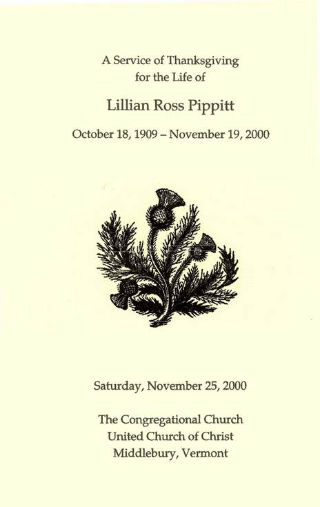 Service of Thanksgiving Lillian Ross Pippitt