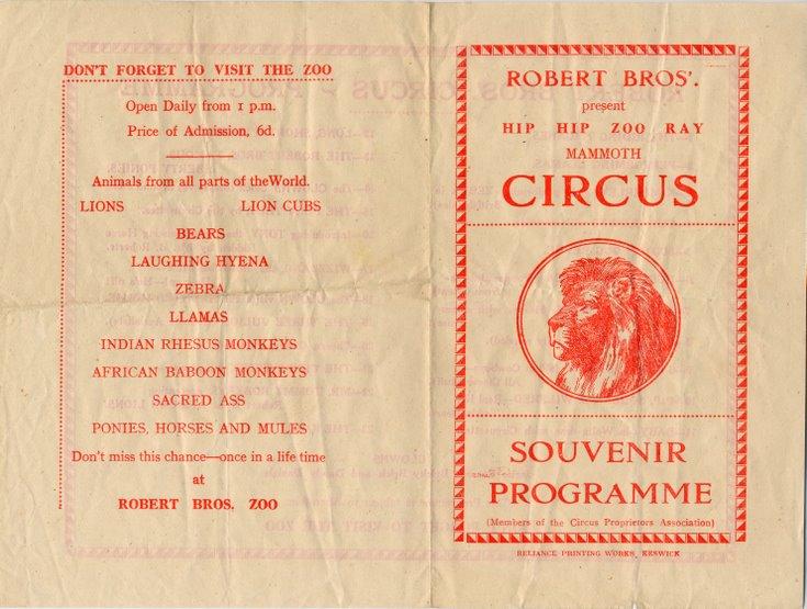 Robert Brothers Circus Programme