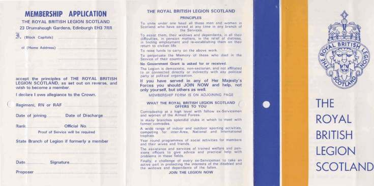 British Legion Correspondence - New publicity leaflet